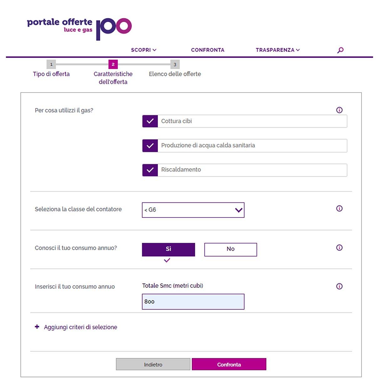 portale offerte schermata gas
