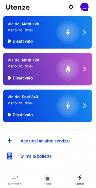 schermata utenze app tate energia