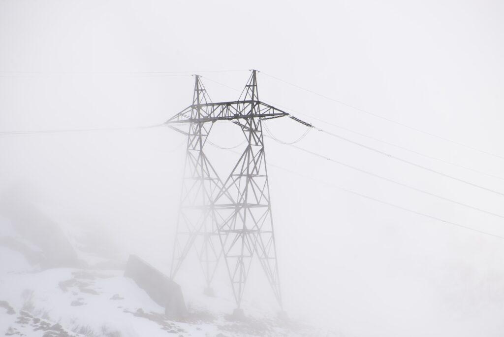 electric pole foggy day