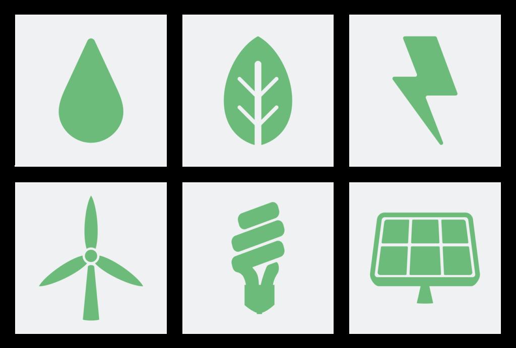 fonti di energia verde eolico solare e idroelettrico