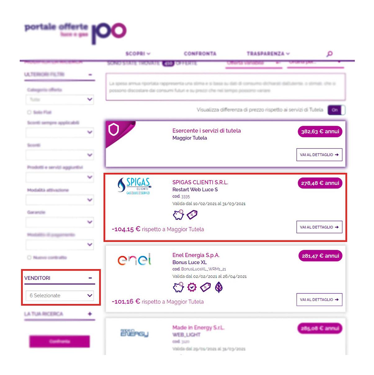dettaglio venditori schermata finale portale offerte
